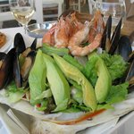 Seafood salad and a glass of wine at El Greco cafe