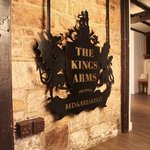The Kings Arms sign leading to the restaurant