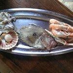Un bel San Pietro con contorno di scampi , calamari e cappe sante