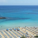 View of the blue flag awarded Fig Tree Bay