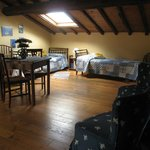 the 2 single beds in top floor room