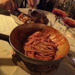 Delicious creamy pasta with bacon, tomato and ricotta sauce