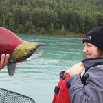 My first Sockeye Salmon catch - they are kind of scary..