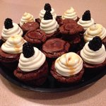 Tuxedo cups! Gluten free brownies with a variety of fillings: whipped cream cheese, salted caram
