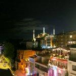 Вид с террасы отеля ночью
