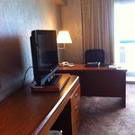 Dated furnishing of harbourview room on 33rd floor.