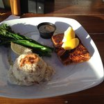 Salmon with Grilled Broccolini and Garlic Mashed