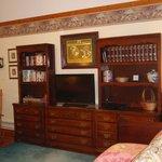 bookshelf & TV stand area