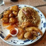 Orange Chicken, Shrimp, Pork fried Rice