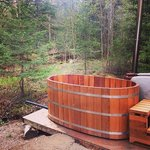 Private outdoor Japanese wood-fired hot tub