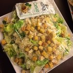 Chicken Caesar salad. Ask for two dressing packs. Nice and fresh.