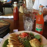 Lunch of Tabouli and hummus and Nehi