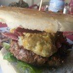 My delicious Stilton cheese burger.
