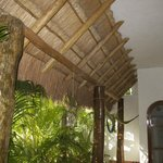 Thatched balcony overhang of ground patio