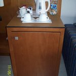 Tea/coffee making facilities and fridge. Room 1233