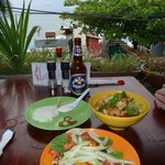fish tacos & spicy cashew shrimp & chicken bowl...MMMM!!