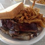 Hickory smoked ribs, amazing cole slaw and hand-cut fries, plus 2 slices of bread.