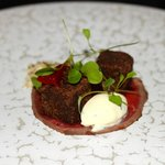Carpaccio of beef - red wine octopus - home cured beef - salt beef - sour cream - sweet and sour