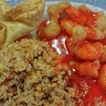 (Partial) Lunch combination: Crab puffs, sweet & sour chicken, pork fried rice with soup & tea