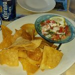 Ceviche with homemade chips.