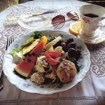 Chicken salad with fruit and wild plum scone!