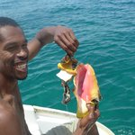 Conch Fish brought up by our snorkel guide to have for lunch
