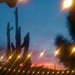 Sunsets and cafe lights in the courtyard.
