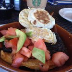 Starbuck's and rancheros skillet. Amazing food in Day Club