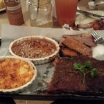 Delicious!  1/2 slab ribs, beef brisket, sweet potato with pecan crust and 3 cheese macaroni! Wa