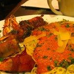 Pesto-stuffed shrimp wrapped in prosciutto