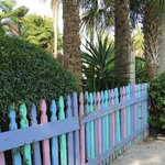 colorful fence by parking lot