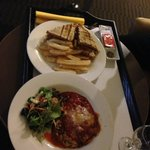 Room service meals. Club sandwich and Lasagne
