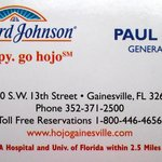 Business Card From 13th Street Howard Johnson's Gainesville
