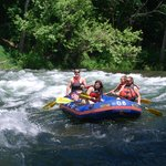 The first big rapid... My son ducked but loved every second!
