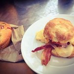Egg, bacon, biscuit sandwich and a cranberry muffin!