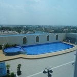 Swimming pool at back of hotel