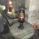 Antique Lamp  in women's restroom