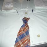 This is the quirky table top decor. A shirt and tie under glass.....cute!