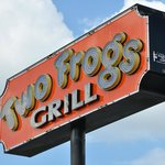 You know you've reached Two Frogs Grill when you see this sign.