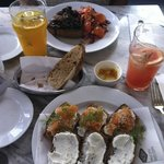 Delicious open sandwiches with specialty lemonades