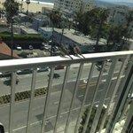 Love birds on our balcony rail