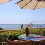Patio with ocean views