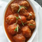 Homemade meatballs cooked w tomato n rosemary
