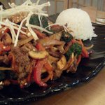 Stirred fried beef with rice