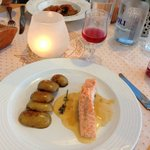 Salmon with baked potatoes