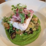 Silver hake with pancetta potatoes and pea puree