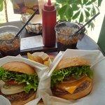Cokes, fries and fresh hamburger and cheeseburger!!!