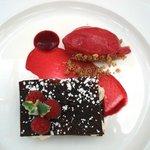 Rhubarb, crème, raspberry sorbet