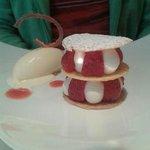 Le dessert du menu: millefeuille fraises