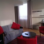 Lounge area in room, looking from bedroom door towards Hall